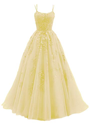 Women's Spaghetti Straps Prom Dresses Tulle Sleeveless Applique Formal Evening Gowns with Brush Train Yellow Size 2