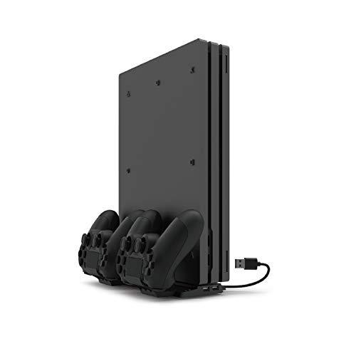 BEBONCOOL PS4 Standfuß, PS4 Controller Ladestation mit 4 Micro-USB-Dongles, PS4 Ladestation Controller Unterstützen 2 Controllers Gleichzeitiges Laden, Multifunktionaler PS4 Halterung für PS4 Slim/Pro