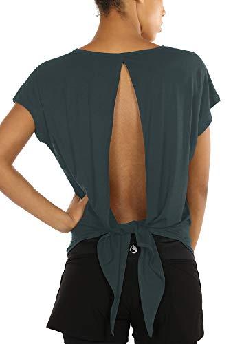 icyzone Camiseta sin Mangas Deportiva de Manga Corta de Espalda Abierta para Mujer para Yoga -M-Sea Pine