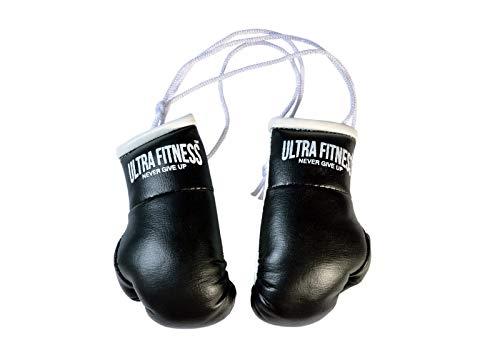 ULTRA FITNESS - Guantes de Boxeo con Cordones para Colgar en el Coche, Negro