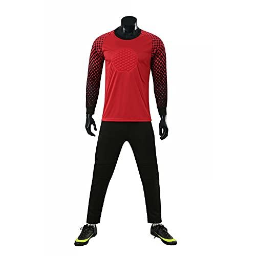 AXTMR Traje de Jersey de Portero de fútbol para Hombres y niños, Camiseta de Entrenamiento de Portero de Manga Larga Acolchada y Pantalones de chándal, 2XS-4XL Opcional,Red,XXL