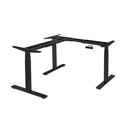 VWINDESK VJ301 L Shaped Electric Height Adjustable Standing Corner Desk Frame Only W/Triple Motor, Ergonomic Sit Stand Up Height Adjustable Steel Base with Digital Memory Keypad (Black)