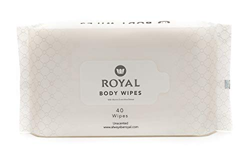 Royal Baby Wipes - Organic Biodegradable Wet Towelettes for Natural Feminine Hygiene Care and Face Cleansing - Women, Men, & Baby-Safe, Anti-Itch - Vitamin E & Aloe Extract, Unscented - 1 Pack of 40