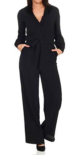 ONLY Damen ONLTALIA-Mone L/S PNT Jumpsuit, Schwarz (Black Black), Medium (Herstellergröße: 38)