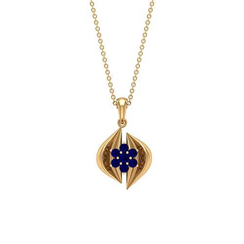 Colgante de zafiro azul de 1/2 quilates, colgante de racimo, collar Art Deco de oro (2,20 mm, 2,50 mm, zafiro azul en forma redonda) azul