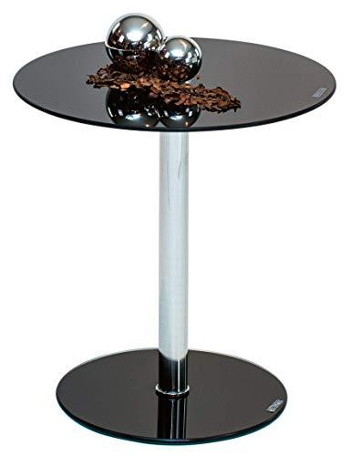 Möbelbörse Beistelltisch Glas Rund Nachttisch Glastisch Couchtisch Sofatisch Kaffeetisch Tisch Chrom Wohnzimmer Sicherheitsglas Schwarz