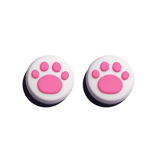 Silicone Analog Controller Thumb Stick Grips Cap for Nintendo Switch NS Controller Joy-Con/Switch Lite ThumbStick(2 PCS White-Pink Cute Cat Paw Claw)