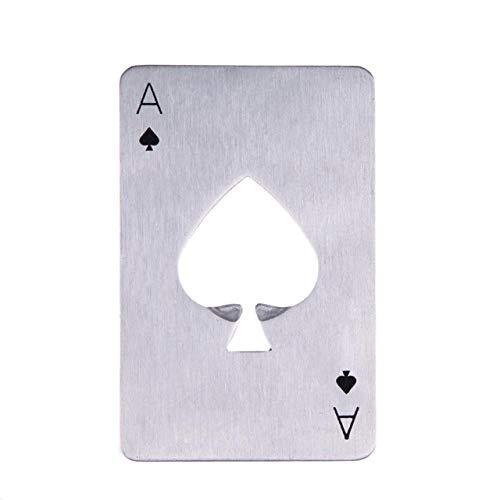 XHTZDHT Abridor de Botellas Black/Silver Poker Card Abrebotellas de Cerveza Herramienta Tarjeta de crédito de Acero Inoxidable Abrebotellas Tarjeta de Espadas Bar Tool Kitchen Party, Silver