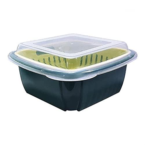 3 en 1 Caja de desage de doble capa con tapa para el hogar Multifuncin Refrigerador Crisper Almacenamiento de vegetales (Color : 5AC1104075-DBL)
