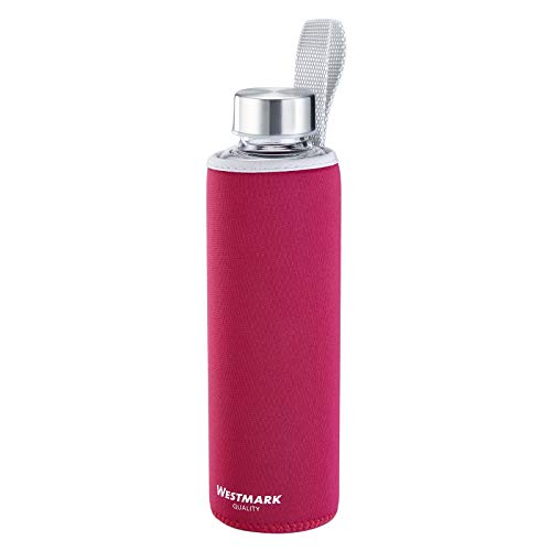 Westmark Botella para beber, De vidrio con impresión, Incl. cubierta protectora, 550 ml, Vidrio/silicona/caucho, Sin BPA, Viva, Rojo/plata/transparente, 5272226R