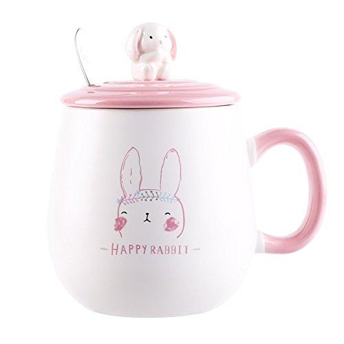 UPSTYLE Neuheit Funny Coffee Mug Cute Kaninchen Bunny Animal Tumbler Thermobecher To Go mit Deckel und Cartoon Löffel Keramik Tasse Office für Tee und Kaffee 400ml Happy Rabbit