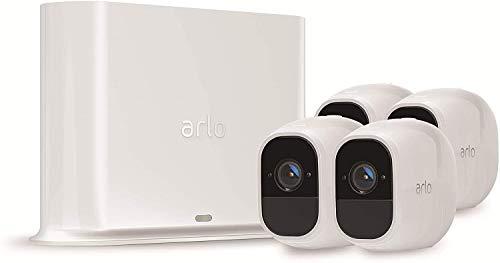Arlo Pro2 Überwachungskamera & Alarmanlage, 1080p HD, 4er Set, kabellos, Innen / Aussen, Bewegungsmelder, Nachtsicht, 130 Grad Blickwinkel, Smart Home,WLAN, 2-Wege Audio, wetterfest, VMS4430P, Weiß
