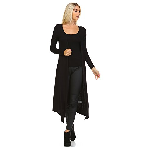 Isaac Liev Women's Maxi Cardigan – Long Sleeve Open Front Flowy Draped Casual Soft Lightweight Sweater Duster Made in USA 0008 Black S