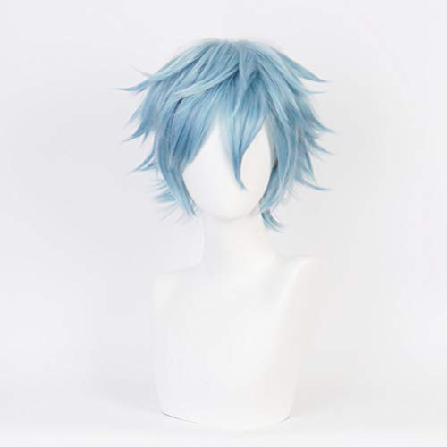 Anime Cosplay Light Blue Tomura Shigaraki Wig Short for My Hero Academia Cosplay Halloween Wigs Synthetic Costume Wig for man