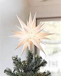 Elf Logic - Moravian Star Tree Topper - Beautiful Bright White 3D Lighted Christmas Star Tree Topper - Advent Star, Bethlehem Star (Assembly Required) (12 Inch, Incandescent)