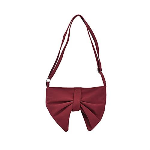 Esdlajks Monedero de la Mochila de para Las Mujeres Bolso Kawaii Bay Checked Crossbody Bolsa LA Bolsa DE Cross CHUGLE DE Lolita (Color : Red, Size : S)