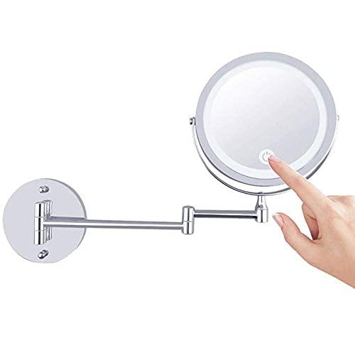 Espejo de Pared LED 1X / 10X de Aumento de Doble Cara,...