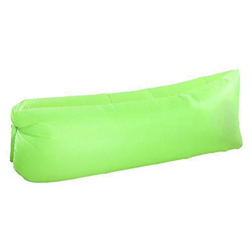 LvRaoo Sofa Gonflable Imperméable Léger Canapé avec Sac de Transport pour Voyager, Camping, Jardin, Randonnée et de Plage (Vert Fluorescent | 210T À Carreaux, 190 * 70 * 50cm)