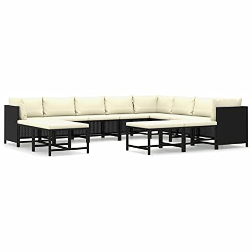 Festnight Sofás de Jardín Exterior | Sofa Exterior Terraza | Lounge Exterior Set de Muebles con Cojines,Ratán Sintético,Muebles de Jardín para Jardín Balcón Patio Piscina Terraza (12 Piezas,Negro)