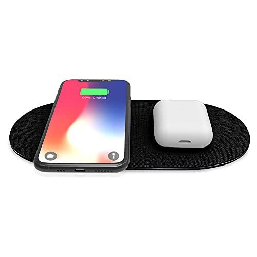 Dual Wireless Charger Pad,Fast Double Qi-Certified Wireless Charging Pad 7.5W for iPhone 11, 11 Pro, 11 Pro Max, XS Max, XR, XS, X, 8, 8 Plus,10W for Galaxy S20 S10 S9 S8, Note 10 Note 9(NO Adapter)-B