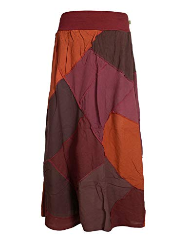 Vishes - Alternative Bekleidung - Langer Weiter Damen Patchwork-Rock - Hand-Gewebte Baumwolle dunkelrot 38