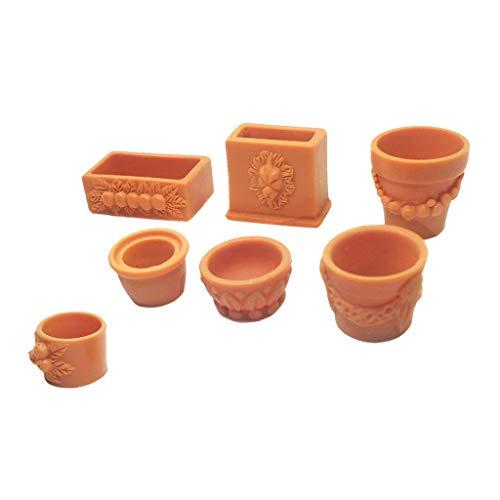 Inzopo Mini 7 pièces Pot de Fleurs Assorties Plastique pour 1/12 Dollhouse Miniature Meubles de Jardin Decor Kits