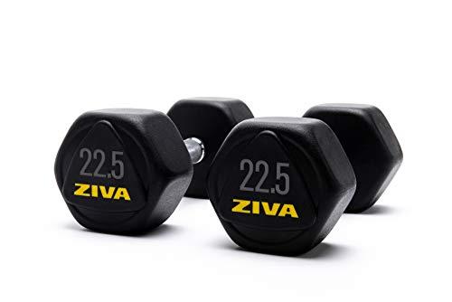 ZIVA Performance Hex Dumbbell 22.5 Kg Mancuernas Hexagonales, Unisex Adulto, Negro/Amarillo, Unidad ⭐