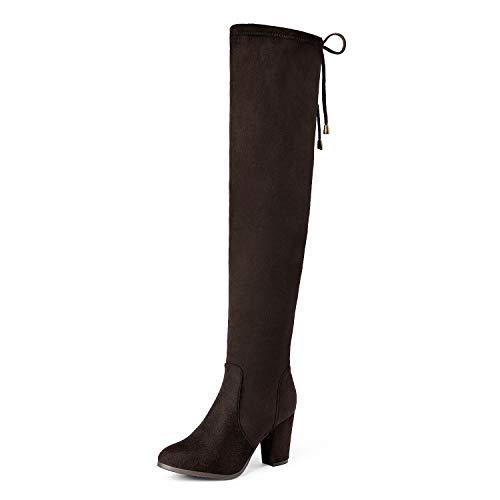 DREAM PAIRS Highleg Women's Thigh High Fashion Over The Knee Drawstring Strech Block Mid Heel Boots...