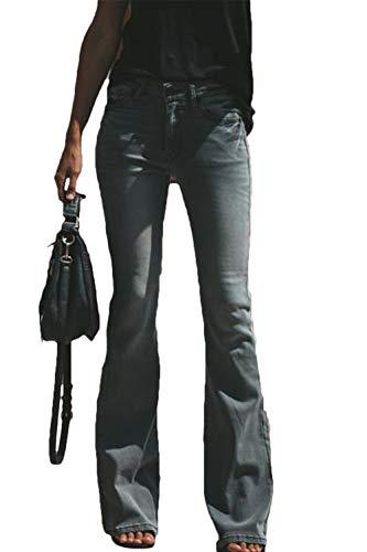 Suvimuga Mujer Vaqueros Acampanados Pantalones Largos Elástico Cintura Alta Retro Flared Jeans Negro S