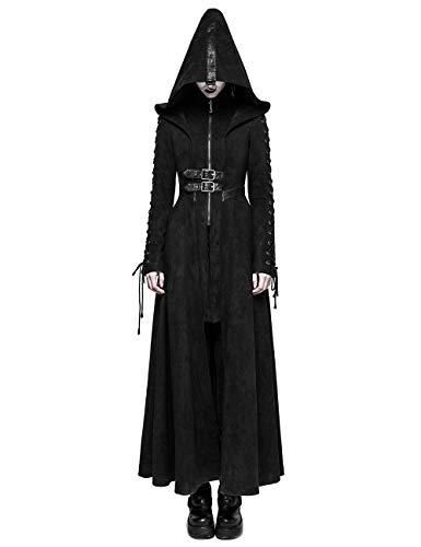Punk Rave Damen Winter Schwarz Gothic Dark Angel Langer Mantel mit Kapuze XXXL