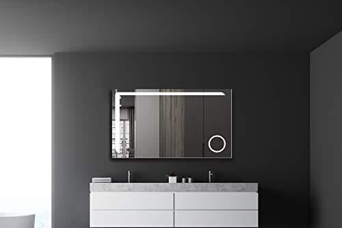 Badspiegel mit Beleuchtung Talos Arrow - Badezimmerspiegel in 120 x 70 cm - Badspiegel mit beleuchteten Kosmetikspiegel, 50081