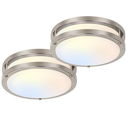 10 inch Flush Mount LED Ceiling Light Fixture, 17W [120W Equiv.] 1100lm, 3000K/4000K/5000K Adjustable Ceiling Lights, Brushed Nickel Saturn Dimmable Lighting for Hallway Bathroom or Kitchen - 2 Pack