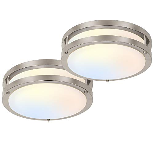 10 inch Flush Mount LED Ceiling Light Fixture, 17W [120W Equiv.] 1100lm, 3000K/4000K/5000K Adjustable Ceiling Lights, Brushed Nickel Saturn Dimmable Lighting for Hallway Bathroom or Kitchen - 2 Pack