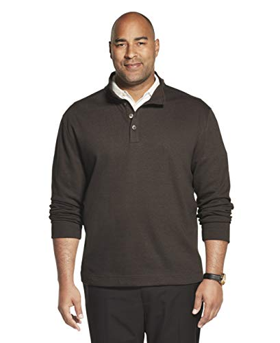 Van Heusen Men's Big Long Sleeve Never Tuck Jaspe Button Mock Pullover, Brown Morel Solid, 3X-Large Tall