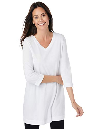 Woman Within Women's Plus Size Longer Length Three-Quarter Sleeve V-Neck Tunic - 34/36, White