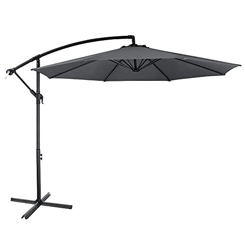 Sombrilla, sombrilla de 300 cm de diámetro, con manivela y soporte, sombrilla de jardín y terraza, plegable, protección UV 50+, para jardín, piscina, playa, terraza, 180 g/m²