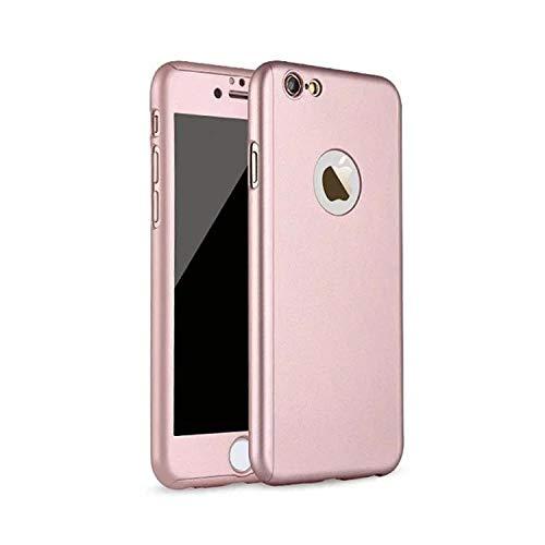 Protector Funda Case 360 + Cristal Templado para iPhone 5 5s SE 6 6s 6 Plus 6s Plus 7 8 7plus 8 Plus X XR XS MAX (6 / 6s, Rosa)