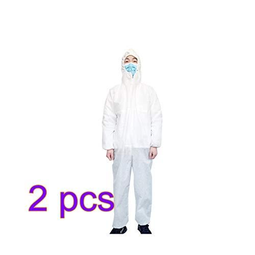 Exceart 2 Stück Einwegoverall Einweg-Vliesschutzkleidung mit Elastischem Handgelenk Und Kapuze für Erste Hilfe Gebrauchsgröße XXL