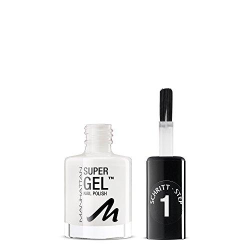 Manhattan Super Gel Nagellack – Gel Maniküre Effekt ganz ohne UV Licht – Weißer Nail Polish mit bis zu 14 Tagen Halt – Farbe In Love With White 135 – 1 x 12ml