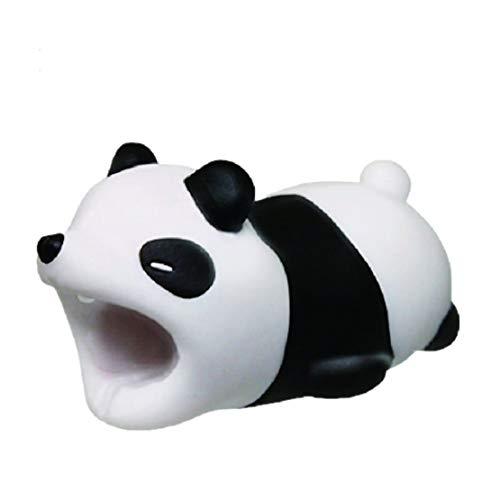 BZLine Universel Charge Câble Saver, Animal Bite Protecteur USB Câble Protecteur Portable Téléphone Chargeur Cordon Saver (Panda Noir)