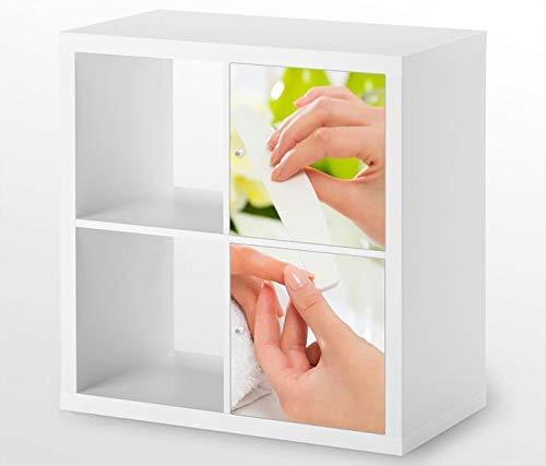 Möbelaufkleber für Ikea KALLAX / 2x Türelemente vertikal Nagel Nagelstudio Kat5 Manikuere Blume Nae Aufkleber Möbelfolie Tür sticker (Ohne Möbel) 25G541