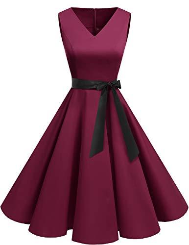 bridesmay 1950er V-Ausschnitt Halloween Kleid Vintage Cocktailkleid Rockabilly Retro Schwingen Kleid Faltenrock Burgundy M