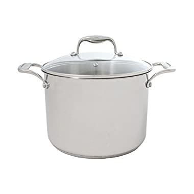 Tuxton Home Concentrix 8QT Stockpot; Stainless Steel, PFTE & PFOA Free, Freezer to Oven Safe, Induction Compatible