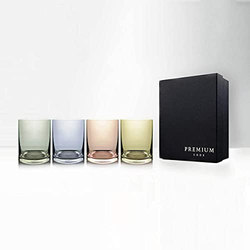 Zizkov Farbige Gläser für Whiskey, Scotch, Wassergläser, hochwertig, 320 ml, 4 Stück
