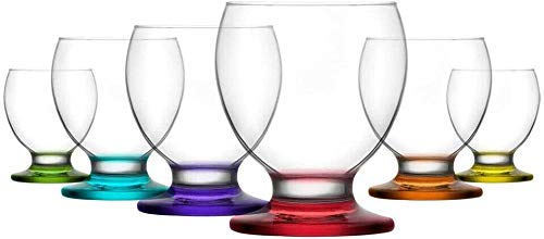 Juego de 6 vasos de postre con base de colores para regalo de ginebra, copas de vino, vasos de vaso (280 ml)