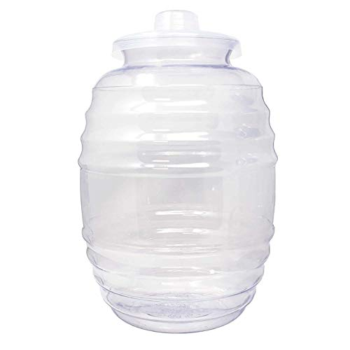 Made In Mexico Vitrolero Tapadera 3 Gallon Aguas Frescas Water Plastic Barrel Juice Beverage Container Jug with Lid, 11 L Clear - BPA Free