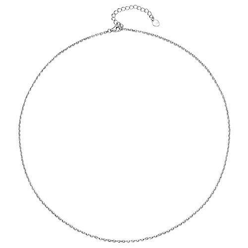 Silvora Collar de Plata Rolo Eslabones Collares Corto 36cm con Alargador 5cm Collar de Mujer Plata de Ley Gargantilla