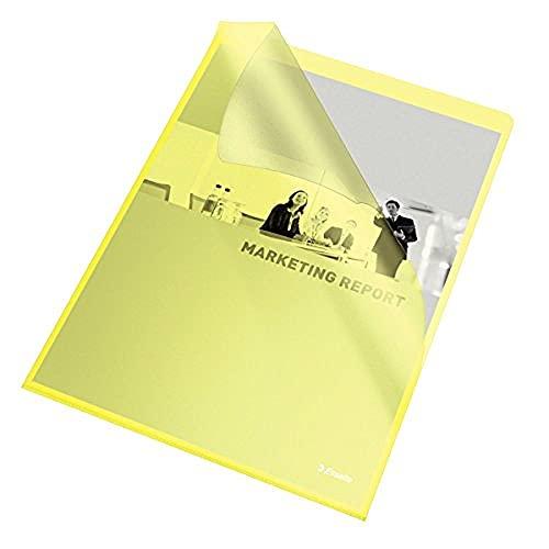 Esselte - Fundas plásticas archivadoras A4 100 unidades color amarillo
