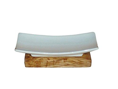 NEU Seifenschale Porzellan auf Olivenholz