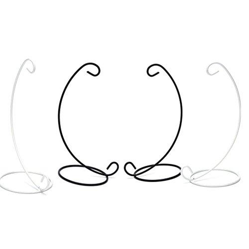 Yesoa 4 Stück Eisen Ornament Halter Display Ständer Halter Haken Aufhänger hängende Glaskugel Luftpflanzen-Terrarium Halter für Hexenkugel, Weihnachtsdekoration, 23 cm (schwarz, weiß)